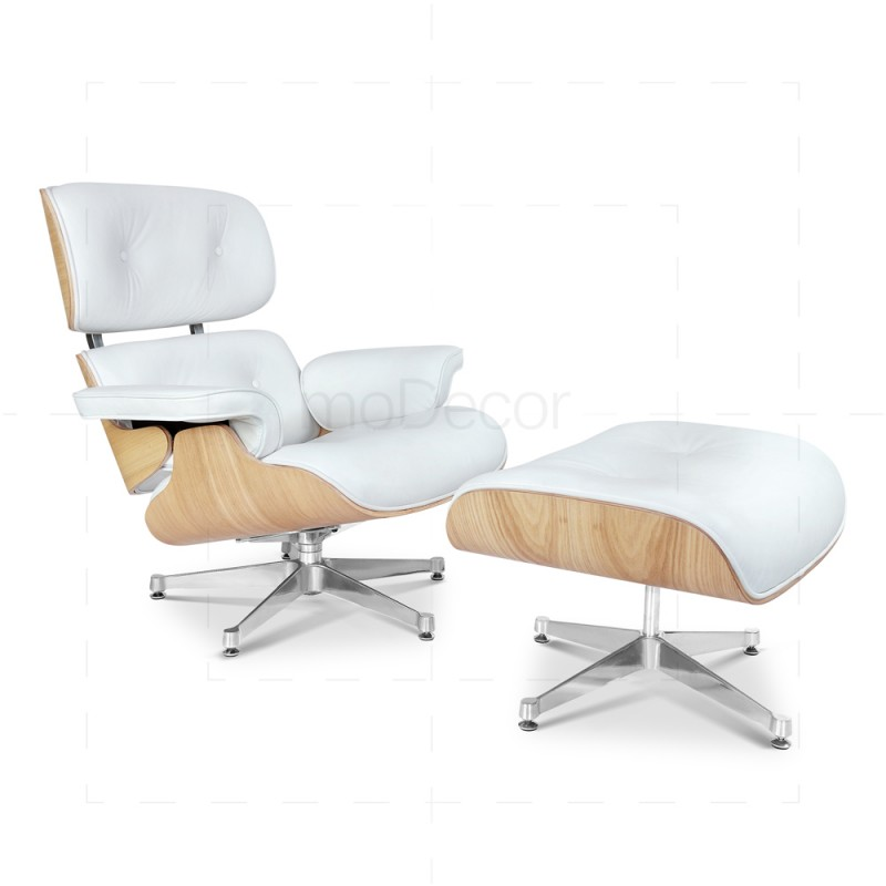 Remarkable Eames Lounge Chair And Ottoman White Leather Uwap Interior Chair Design Uwaporg