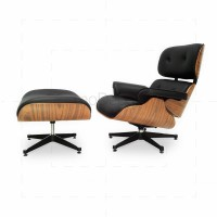 Eames Lounge Chair and Ottoman Oak Plywood Black Leather