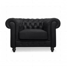 Traditional Chesterfield styled 1 sofa - Black Leather - Reproduction