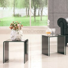 2 * Black Glass Coffee Side Tables with Clear Strip on Sides