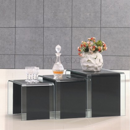3 Nested Black Glass Coffee Side Tables - Clear Strip on Sides