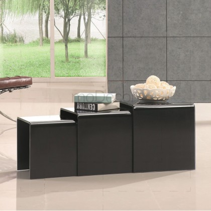 3 Nested Black Glass Coffee Side Tables