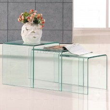 3 Nested Clear Glass Coffee Side Tables