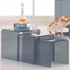 3 Nested Grey Glass Coffee Side Tables