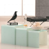3 Nested White Glass Coffee Side Tables