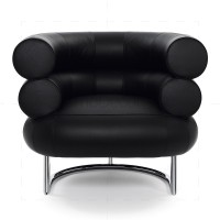 Bibendum chair inspired by Eileen Gray Chrome + Black - Reproduction