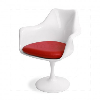 Tulip Arm Chair inspired by Eero Saarinen White/Red - Reproduction