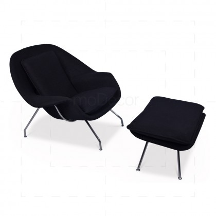 Womb Chair Black Wool insp by Eero Saarinen