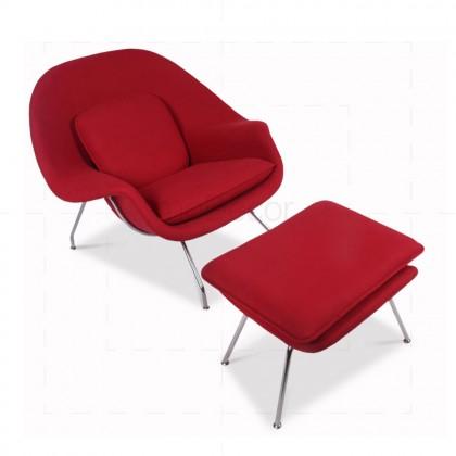 Womb Chair Red Wool insp by Eero Saarinen