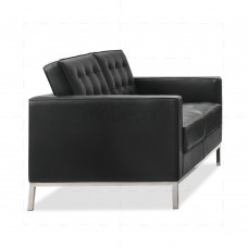 Florence Knoll Sofa 2 Seat by Florence Knoll Bassett Black - Reproduction