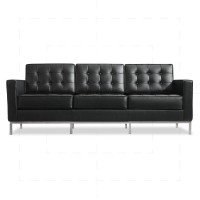 Florence Knoll Sofa 3 Seat by Florence Knoll Bassett Black - Reproduction