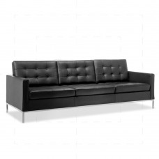 Florence Knoll Petite Sofa 3 Seat by Florence Knoll Bassett Black - Reproduction