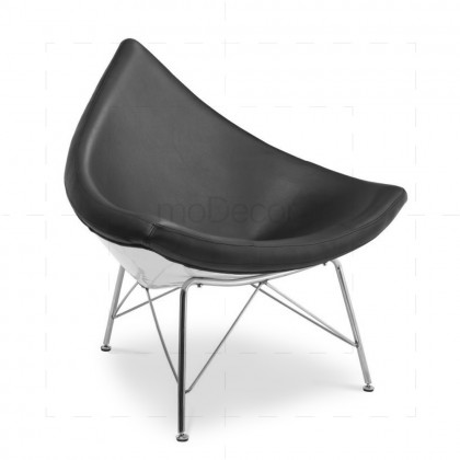 George Nelson Coconut Chair - Black Leather - Reproduction