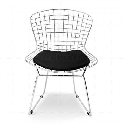 Wire Chair inspired by Harry Bertoia Chrome + Black - Reproduction