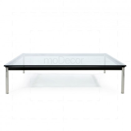 Charles Le Corbusier LC10 Rectangular Table Chrome + Clear Glass - Reproduction