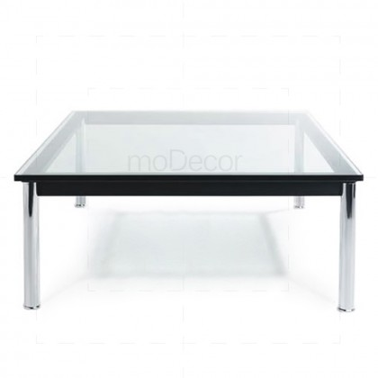 Charles Le Corbusier LC10 Square-1 Table Chrome + Clear Glass - Reproduction