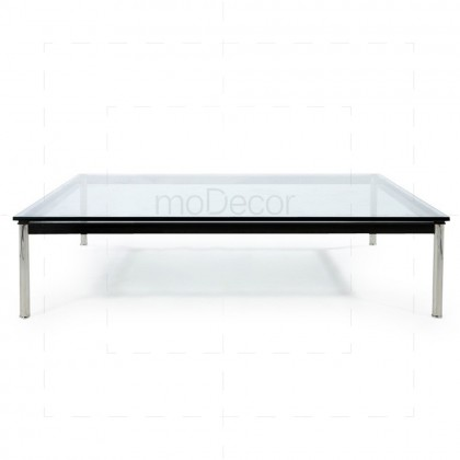 Charles Le Corbusier LC10 Square-2 Table Chrome + Clear Glass - Reproduction