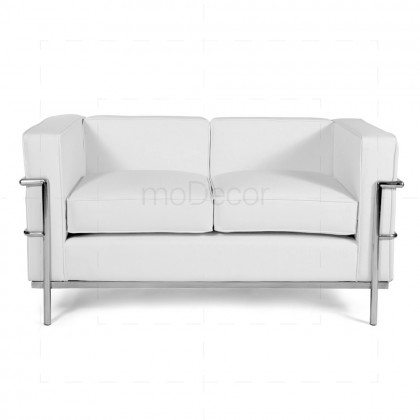 Le Corbusier Love Seat - LC2 2-Seater Sofa White Leather - Reproduction