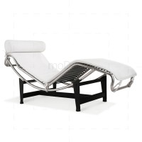 Le Corbusier Chair LC4 Chaise Lounge White Leather - Reproduction