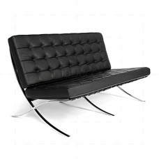 Barcelona Love Seat - 2 Seat Sofa - Black Leather