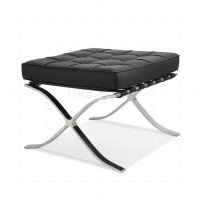 Barcelona Ottoman Black Leather - Mies van der Rohe