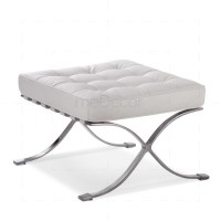 Barcelona Ottoman White Leather - Mies van der Rohe
