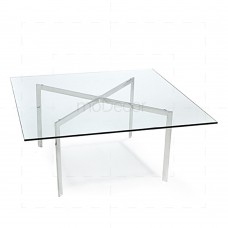 Barcelona Coffee Table by Ludwig Mies van der Rohe Chrome + Clear Glass - Reproduction