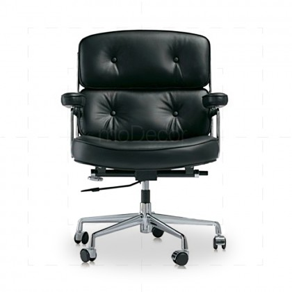 Eames Lobby Chair EA104 - Black Leather - Reproduction