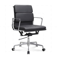Eames Office Chair Low Back Soft Pad Black Leather - Reproduction