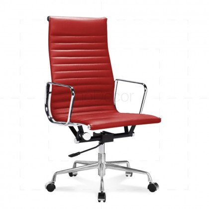 Eames Office Chair High Back Ribbed Red Leather - Reproduction