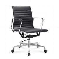Eames Office Chair Low Back Ribbed Black Leather - Reproduction